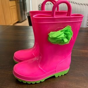 Pink & Green Girls Rain Boots